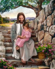 A fine art painting of Jesus Christ and a little girl touching His hands. Painting by Brent Borup. Many sizes available framed or as a single print. Jesus Christ Painting, Jesus Art, God Jesus, Pictures Of Jesus Christ, Pictures Of God, Lds Pictures, Jesus Photo, Lds Art, Christian Art