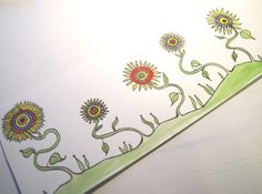 Sunflowers in a Row . Watercolor Painting . by blueskybeads on Etsy