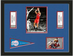 One framed 8 x 10 inch Los Angeles Clippers photo of Blake Griffin with a Los Angeles Clippers mini pennant, and openings for 1 or 2 ticket stubs* and one 4 x 6 inch personal photo**, double matted in team colors to 24 x 18 inches.  (Pennant design may change)  $119.99 @ ArtandMore.com