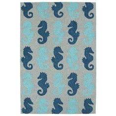 Shop for Indoor/Outdoor Beachcomber Seahorse Blue Rug (5' x 7'6). Get free shipping at Overstock.com - Your Online Home Decor Outlet Store! Get 5% in rewards with Club O! - 18722760