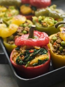 Loaded Stuffed Peppers :recipe to use up your left over vegetables in the refrigerator #paleo cindystable.com