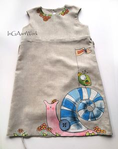 Girls gray linen dress painted dress Hand painted by InGAartWork