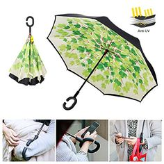 MOZON Double Layer Reverse umbrella for Windproof