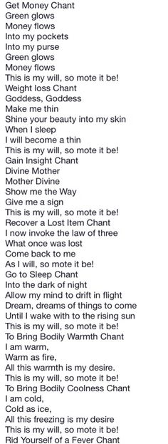 Book of Shadows:  #BOS Simple Chants 7 page.