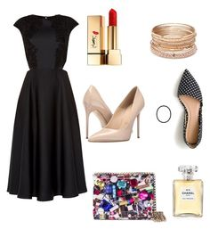 """lbd"" by nainkaba on Polyvore featuring Ted Baker, J.Crew, Massimo Matteo, Jimmy Choo, Red Camel, Yves Saint Laurent and Chanel"