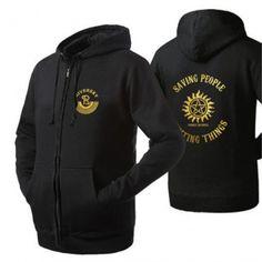 Fleece Supernatural college zip up hoodies for men