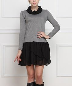 Look at this Reborn Collection Black & Gray Drop-Waist Dress on #zulily today!