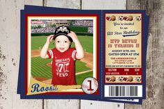 Baseball Party Printable Supplies NO INVITE UPrint Customized Card By Greenmelonstudios