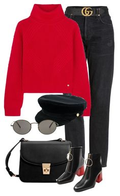 """Untitled #2526"" by annielizjung ❤ liked on Polyvore featuring Citizens of Humanity, Versace, Gucci, Manokhi, MANGO and Oliver Peoples"