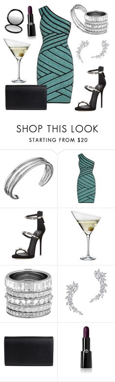 """Cocktail Party"" by jammin8 ❤ liked on Polyvore featuring Karen Kane, Hervé Léger, Giuseppe Zanotti, Eva Solo, Henri Bendel, Kenneth Jay Lane, Yves Saint Laurent, Giorgio Armani and MAC Cosmetics"