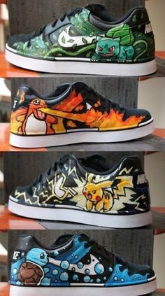 Pokemon Nike Sneakers. Featuring Bulbasaur, Charmander, Pikachu, and Squirtle.