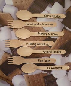 Wood Spoons and Forks - 24 CAMPfire,  Hand Stamped By Lola , Camping, Bon Fires, Smores, Campfire,Fishing, Tents, Ghost, Party