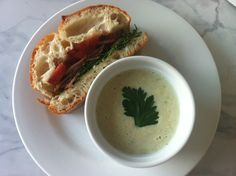 Bacon, Arugula, Heirloom Tomato, & Burrata Cheese Sandwiches served with a Chilled Corn Soup...a perfect summer dinner