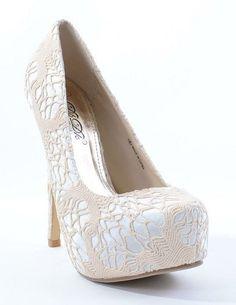 Crochet Detail Almond Toe Pump Heels