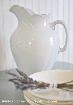 Large white ironstone pitcher