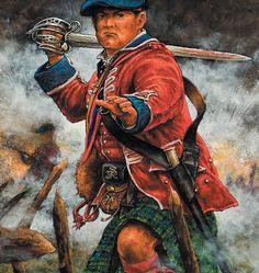 British Highlander troops charging, Seven Years War