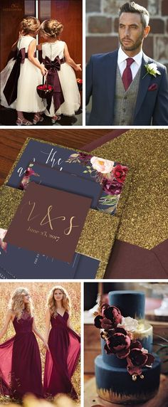 Navy marsala gold wedding palette inspiration. Burgundy bridesmaids dresses. navy marsala wedding cake. Gold wedding invitations. Wine flower girl. Navy maroon groomsmen with gold accents. Navy Marsala wedding invitations with floral design.