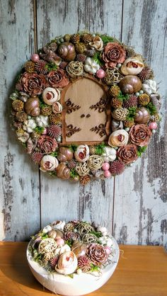 Xmas Wreaths, Christmas Decorations, Holiday Decor, Wreath Crafts, Ornament Wreath, Flower Ball, Nature Crafts, Thanksgiving Crafts, Pink Christmas