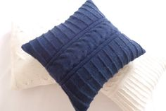 Indigo hand knit cushion cable knit pillow cover by Adorablewares, $35.00