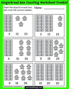 Gingerbread Man Counting Worksheet FREEBIE- for working on numbers 11-30.