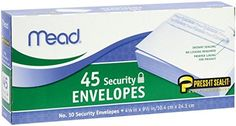 Mead Press-it Seal-it No.10 Security Envelopes, 4.125 x 9.5-Inches, White, 45 Count, Pack of 2 (90 Count In Total)( 75026):   Mead Press-It Seal-It #10 Security Envelopes 45 Count (75026)