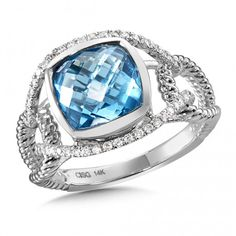 Blue Topaz & Diamond Ring in 14K White Gold - part of our #Oro collection! Find this and more at Starnes Jewelers, www.starnesjewelers.com #starnes #colore