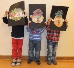 Fruit and Vegetable Faces: inspired by Arcimboldo (November – Hannah's Art Club Fruit Art Kids, Fruits For Kids, Vegetable Crafts, Giuseppe Arcimboldo, Fruit Crafts, Food Themes, Preschool Art, Art Classroom, Art Club