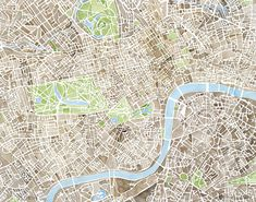 London Sepia Green Blue watercolor Map Print from Original watercolor painting Print measures approx. 11x14 with a white border on 11x14 paper