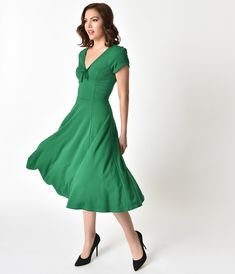 bf59733be435 Unique Vintage 1940s Style Green Knit Short Sleeve Natalie Swing Dress  1940s Fashion Dresses