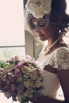 Wedding Veils - short birdcage blusher veil with fabric flower