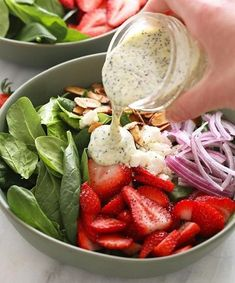 Looking for some new salad recipes to add to your spring meal prep repertoire? we've got you covered from deconstructed spring roll bowls to vegan pasta salads. Strawberry Poppyseed Salad, Spinach Strawberry Salad, Healthy Salad Recipes, Slaw Recipes, Healthy Meals, Chicken Recipes, Vegetarian Recipes, Healthy Food, Refreshing Salad Recipe