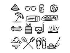 Free Summer Icon Set by Tim Praetzel, via Behance Metaphors for free time and va… - Lawn Mower Icon Set, Icon Icon, Bujo Doodles, Summer Icon, Travel Icon, Sketch Notes, Free Vector Art, Vector Icons, Vector Pop