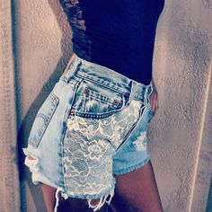 Lace high waisted denim Shorts #lace #denim #shorts www.loveitsomuch.com