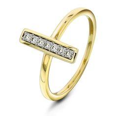Ring i gull med diamant 0,10ct WSI
