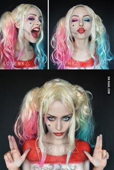 "Harley Quinn as played by Margot Robbie in ""Suicide Squad"" - close up look for make up inspiration #DC...x                                                                                                                                                      More"