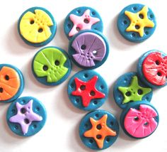 Button Sea of Starfish and Shells handmade polymer clay round buttons ( 6 )