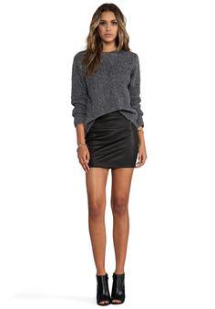 T BY ALEXANDER WANG Slub Wool Knit Pullover in Grey - Sweaters & Knits