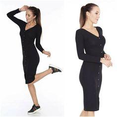 Black Ribbed V Neck Button Front Midi Wiggle Dress Long Sleeved Pencil UK 8 NEW #Portobello #PencilDress #AnyOccasion