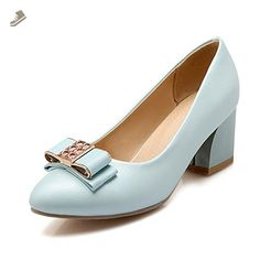 VogueZone009 Women's Pull-on PU Pointed Closed Toe Kitten-Heels Solid Pumps-Shoes with Knot, Blue, 42 - Voguezone009 pumps for women (*Amazon Partner-Link)