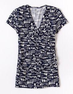 Short Sleeve Wrap Jersey Top WL810 Short Sleeved Tops at Boden
