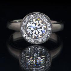 Round 1ct Moissanite Low Profile Diamond Star Dust Halo Bezel Palladium Engagement Ring, Size 5-7