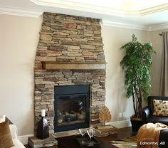 Cultured Stone - Southern Ledgestone - Chardonnay Basement Fireplace, Fireplace Update, Home Fireplace, Fireplace Remodel, Fireplace Ideas, Brick Fireplaces, Fireplace Stone, Corner Wood Stove, Wood Stove Hearth