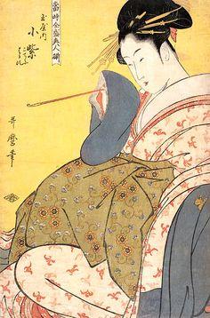当時全盛美人揃「玉屋内小紫」(喜多川歌麿 画) もっと見る