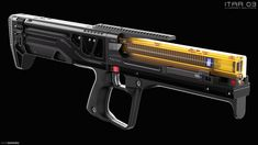 ITAR 03 Weapon Concept Design by EdonGuraziu on DeviantArt Sci Fi Weapons, Weapon Concept Art, Fantasy Weapons, Weapons Guns, Steampunk Weapons, Armes Futures, Future Weapons, Cool Guns, Airsoft