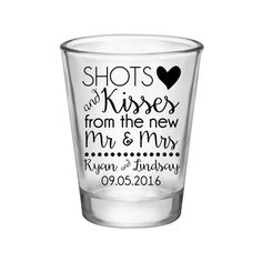 Shots and Kisses From The New Mr and Mrs Custom Shot Glasses Wedding Favors | By #ThatWeddingShop | See all our designs at www.ThatWeddingShop.com | 1.75 oz Clear Standard Shot Glasses #WeddingFavors #WeddingDay #WeddingParty #CustomDesign #Personalized #Shots #ShotsAndKisses #MrAndMrs