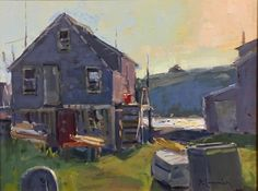 """View of Manana,"" David Lussier, oil, 11 x Todd Bonita Art Gallery. Jamie Wyeth, Monhegan Island, Rockwell Kent, Painting Workshop, Sense Of Place, Rustic Cottage, Fine Art Gallery, Contemporary Artists, Impressionist"