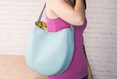 Easy Leather Hobo Bag free PDF pattern template and video tutorial