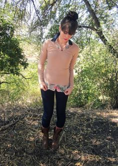 """Fall Outfit: """"Layers""""...Tan/Beige/Taupe Pullover Sweater + Floral Button Down Shirt/Blouse + Dark Pants/Skinnies + Brown lace-up Boots"""