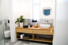 bathroom, white and wood