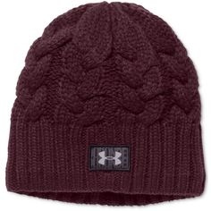 Under Armour Around Town Beanie ($27) ❤ liked on Polyvore featuring accessories, hats, oxblood, under armour, cable knit beanie hat, lined beanie, under armour beanie and cable knit beanie